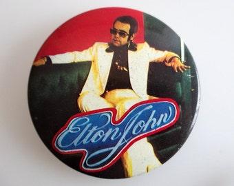 "Elton John - Vintage 1970s 2.5"" Pin Back Button Badge"