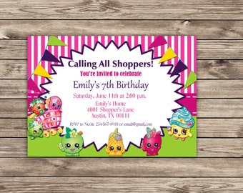 Shopkins Birthday Party, digital downloadable, customized invitation