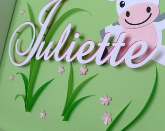 Cow theme table custom birth or christening gift. butterflies, flowers, name, green, embossed. Deco kid's room. paper cut