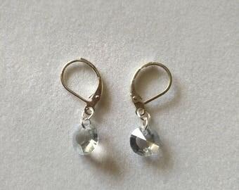 Sterling Silver Clear Crystal Diamond Shaped Swarovski Bead Earring Wedding Jewelry