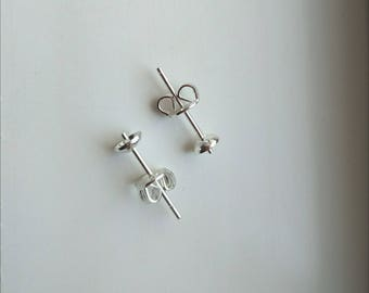 925 Sterling Silver Ear Stud Pins Earring Post With Back Stopper Jewelry Findings