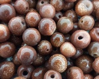 Loose Goldstone Beads, Goldstone beads, 4 mm round beads, red/brown gemstones, wholesale #0788
