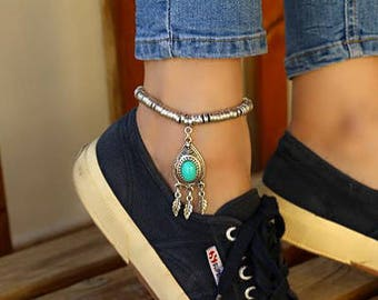 Antique Silver Anklet- jewelry/jewellery/ankle bracelet/anklet/bracelet/antique silver/ottoman/gift/gifts for her/turquoise/turkish