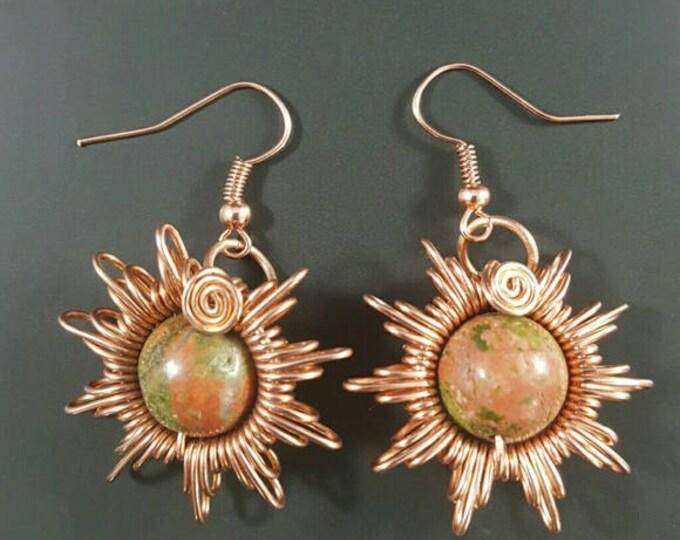 Unakite Handmade Star Earrings // Wire Wrapped Earrings
