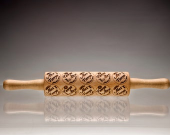 Personalized Rolling Pin, Engraved RollingPin Embossing Rolling Pin Wood Wedding Gift, Anniversary Gift, Lazer Engraved Dough Roller