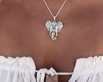 SUMMER SALE / / / boho Elephant silver necklace
