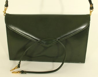 Handbag, fine leather, dark green, lined, with choice of two strap lengths, REDUCED PRICE