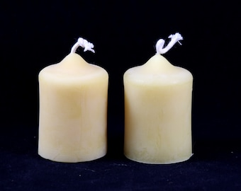 hand-poured Beeswax candles, 2er set pillar candles, beeswax candles, pure beeswax, table Candle, Flameless candle, tea time, gift