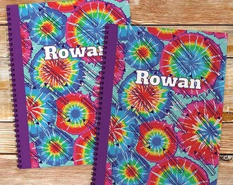 Personalized Tye Dye Notebook set Custom Name Gift