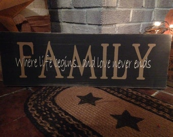 Primitive wooden distressed sign - Family where life begins and love never ends