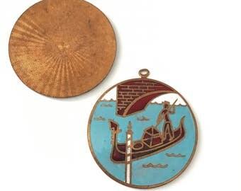 Vintage Enamel on Copper Venetian Scene Gondola Pendant, Enamel on Copper