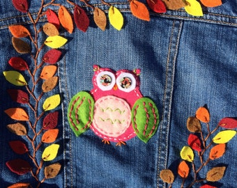 Girls Denim Jacket Pink Owl Size 5