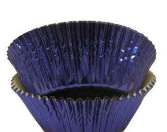 Cupcake Baking Cup Blue Foil 100 Ct