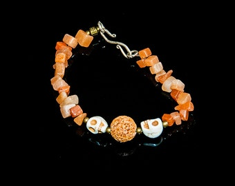 Bracelet, head of white death, coral, lava orange FACTS HAND