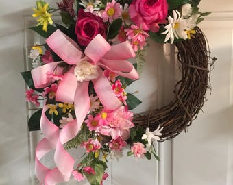 Mother's Day Wreath, Spring Wreath, Summer Wreath, Home Decor, Door Wreath
