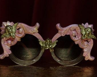 Oversized Pink Gold Cherub Embellished Rococo Shades Sunglasses