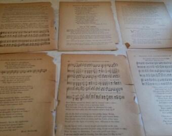 Music ephemera lot of 6 pages,  collage Antique original book prints
