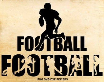 Football svg files, Football clipart silhouette, Shirt design, Iron on designs, Cut files for Cricut, Files for Silhouette