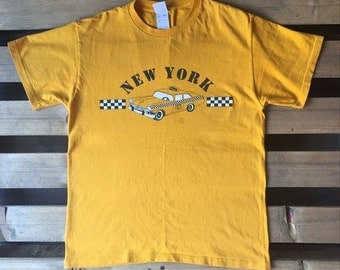 1990s Vintage New York t-shirt, taxi, yellow, ny, big apple, car, 90s, retro, vtg, tee, taxi fare, driver, stripe, old car,