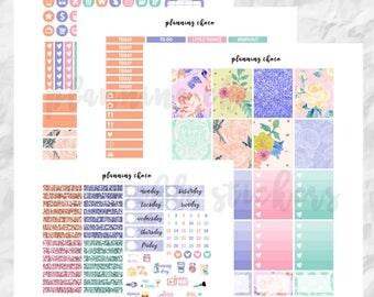 Spring Floral printable planner stickers /EC vertical weekly kit / ECLP / pdf, jpg, cut files