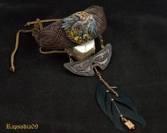 Jewelry necklace Jewelry with feather Polymer clay necklace  Eagle necklace  Ethnic necklace Boho jewelry Collar necklace