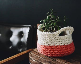 Decorative Crochet Coral Basket