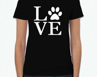 Love paw print custom t-shirt | dog lover shirt