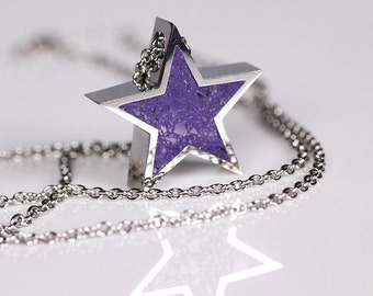 Star Pendant - Purple 5-point star pendant. Stainless steel, concrete, glass pendant. Statement necklace. Star necklace.