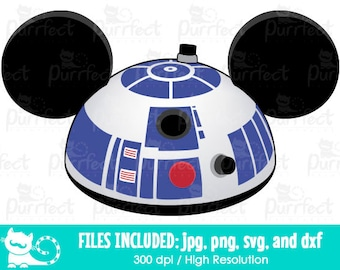 Star Wars R2D2 Mickey Mouse Ears Hat SVG, Star Wars R2D2 SVG, Disney Digital Cut Files in svg, dxf, png and jpg, Printable Clipart