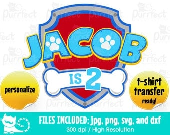 Paw Patrol Birthday Theme SVG, Paw Patrol Inspired Birthday SVG, Digital Cut Files in svg, dxf, png and jpg, Printable Clipart