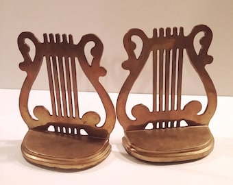 Vintage Brass Lyre Harp Musical Bookends