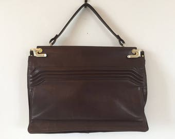 Vintage chocolate colored leather handbag