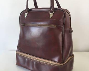 Sac cabas/ voyage en cuir synthétique marron avec compartiment chaussure séparé