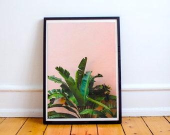 Banana leaf Decor, Pink Print, Banana Leaf Art, Banana leaf Wall Art Print, Pink Wall Art , Pink Palm Leaf Print, Banana Leaf Printable