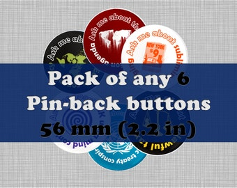 "Pack of 6  Large 56mm (2.2"") Conspiracy Pinback Buttons - Ask Me About Conspiracy Button Badges - Black Pin Badges - White Plastic Badges"