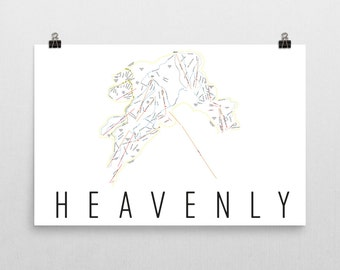 Heavenly Ski Map Art, Lake Tahoe, Heavenly California, Heavenly Trail Map, Ski House, Ski House Decor, Ski Chair, Ski Lift, Ski Lodge Decor