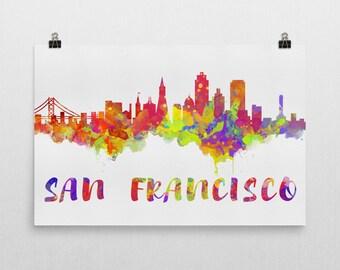 San Francisco Skyline, San Francisco Skyline Canvas, San Francisco Skyline Art, San Francisco Watercolor Skyline, Skyline of San Francisco