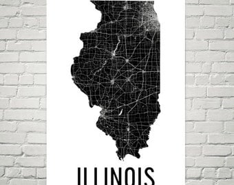 Illinois Map, Illinois Wall Art, Illinois Print, Illinois Art, Illinois, Illinois Gifts, Illinois Decor, Illinois Poster, Map of Illinois
