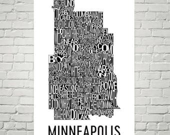 Minneapolis Typography Neighborhood Map Art City Print, Minneapolis Wall Art, Minneapolis Art Poster, Map of Minneapolis, Artwork, Minnesota