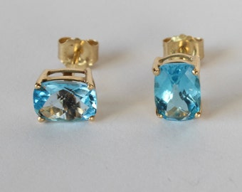14k Gold Blue Topaz Earrings Cushion Pillow Cut Semi Precious Gemstone November Birthstone