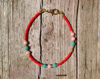 thin bracelet with coral and jade, bohostyle, red, coral, turquoise