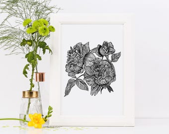 Peonies and Roses Art Print | Floral Ink Illustration