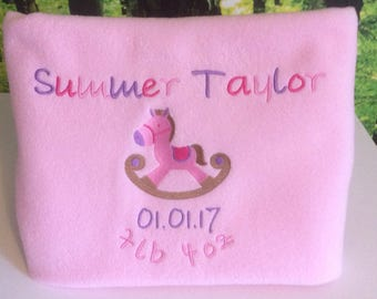 Embroidered and Personalised Baby Fleece Blanket Baby Girl