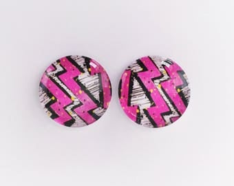 The 'Pink Lightning' Glass Earring Studs