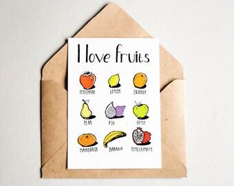Fruit collectibles Fruits print art Postcard prints art Card sketch I love Postcard colorful Teacher english Card language Learning prints