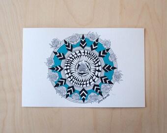 Floral Bloom Mandala (blue) Illustration / Art Print