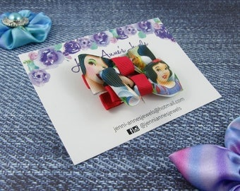 Bow Tie Hair Clip - Set of 2 - Snow White