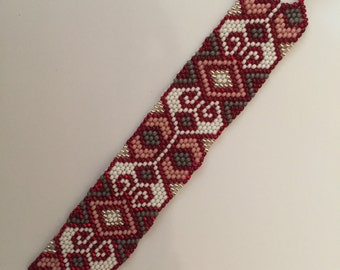 Red Beaded Bracelet with Blackberry Clasp