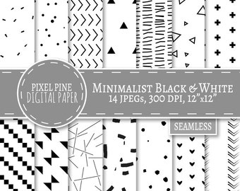 Minimalist Digital Paper, Minimalist Black and White paper, 14 JPGs, Commercial Use, scandinavian digital paper, diy minimalist paper