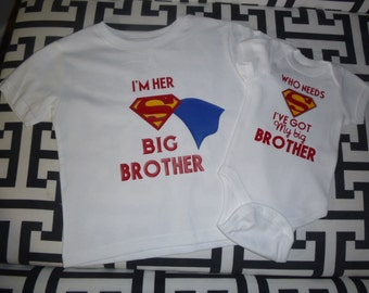 Superman big brother bodysuit/matching shirt